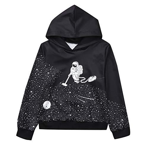 SANGQU Children Kids Hooded Sweatshirt Baby Long Sleeved 3D Digital Print Tops Black