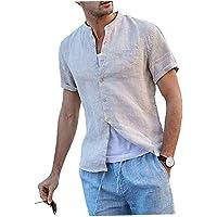EElabper Camisa de algodón y lino con botones y cuello alto para hombre, blusa suelta, manga corta, con bolsillo, color…
