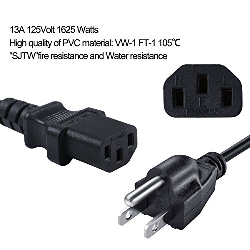 8FT NEMA 5-15P/IEC C13 Power Cord 16 Gauge 13Amp 105℃ 125V,UL listed, for Computer Monitor,PC,Printer,Scanner Yodotek(Set Of 2) by Yodotek (Image #2)