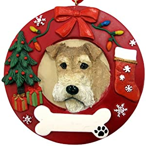 Wire Fox Terrier Christmas Ornament Wreath Shaped Easily Personalized Holiday Decoration Unique Wire Fox Terrier Lover Gifts 51