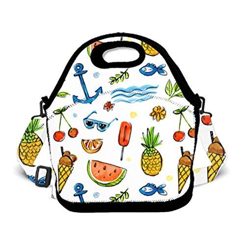 POP MKYTH 3D Pineapple Anchor Ice Cream Insulated Neoprene Lunch Bag for Women Men Girls Boys Kids, Reusable Lunch Tote Bag for Work School Picnic, for Halloween ()