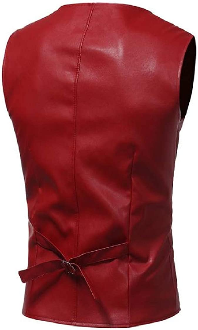 Pandapang Mens Pocket Sleeveless Faux Leather Washed Comfortable Button Vests