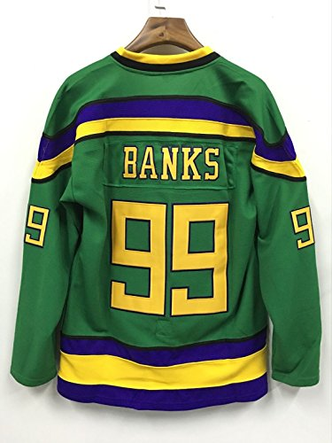 CoreSpot Adam Banks 99 Ducks Hockey Jersey S-XXXL Green (S)