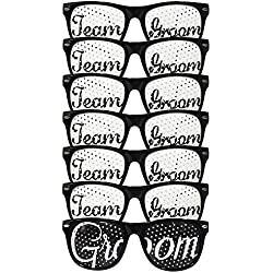Groom Wedding Party Sunglasses Kit - Perfect Favors for Bachelor Parties, Receptions, Pictures, and Photo Booths (Groom and Team Groom 7pcs set)