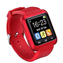 Ohmygod85 Bluetooth U80 Smart Watch Anti-Lost Mtk Wristwatch Outdoor Sports Pedometer with Micphone Touch Screen (Red)