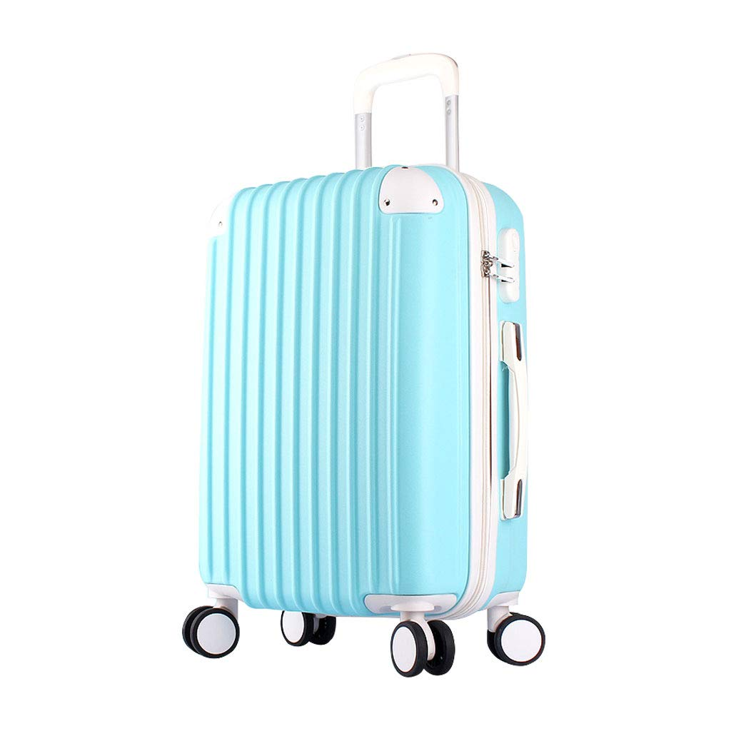 ABSハードシェルキャビン荷物トロリーバッグ軽量持ち運び用スーツケース作り付けロック、4ホイール、ライトブルー 38*24*54cm  B07MQRFFD4