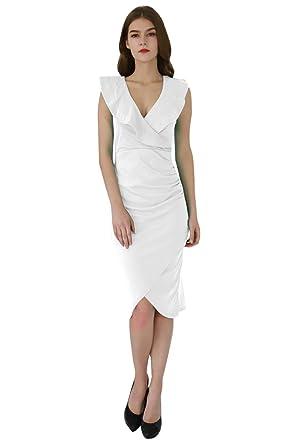 0fc964d7111113 YMING Femme Robe à Volanté Asymétrique Ourlet Col V Robe de Club Robe d'été  Robe Moulante