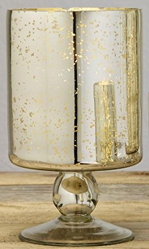 Market Street Large Mercury Glass Pedestal Pillar and Votive Candle Holder (Mercury Candle Holders Pedestal Glass)
