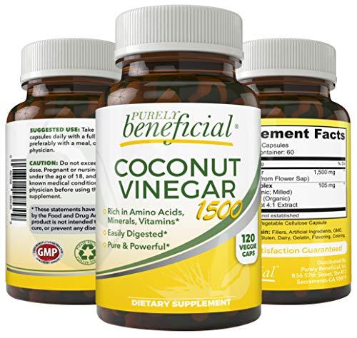 Coconut Vinegar 1500mg – Raw, Organic, Rich in Minerals, Amino Acids Made from Coconut Sap, Non-GMO, 120 Capsules (1bottle)