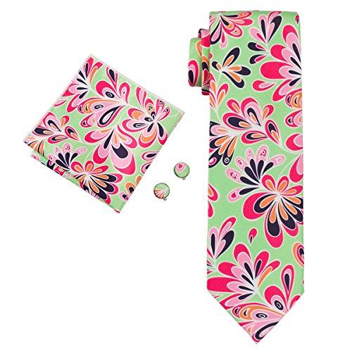 Hi-Tie Floral Motif Silk Necktie Set Matching Hanky Cufflinks