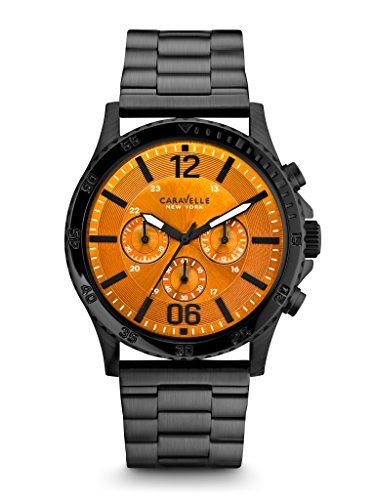 Caravelle New York Men's 45A108 Analog Display Japanese Quartz Black Watch from Bulova