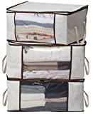 MISSLO Thick Oxford Clothing Organiser Storage Bags for Clothes, Bedding, Quilt, Duvets, Blankets, Moving, 3 Piece Set (Beige)