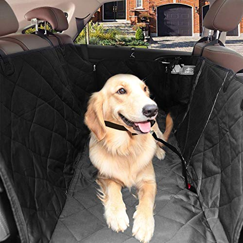 onewell Waterpoof Anti-scratch Dog Seat Cover Black, Dog Backseat Cover Protector with Breathable Mesh Window, Washable and Durable, Fits for Trucks and SUVs