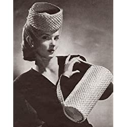 Vintage Crochet PATTERN to make - High Pillbox Hat Bag Purse 1940s. NOT a finished item, this is a pattern and/or instructions to make the item only.