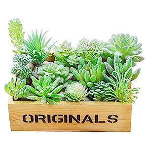 AKITSUMA Artificial Succulent Assorted Unpotted Arrangement 14 PCS Flocking for Garden and Home Decoration Fake Mini Desert Green Plant 93