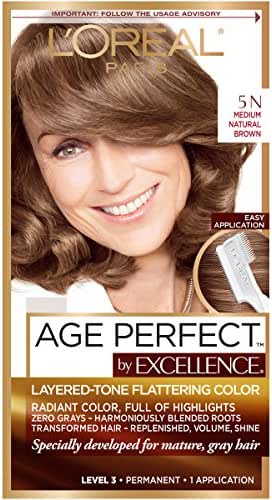 L'Oreal Paris ExcellenceAge Perfect Layered Tone Flattering Color, 5N Medium Natural Brown (Packaging May Vary)