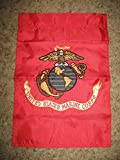 USMC Marines 12x18 Embroidered Sewn Garden Flag Banner Sleeve Solarmax Nylon