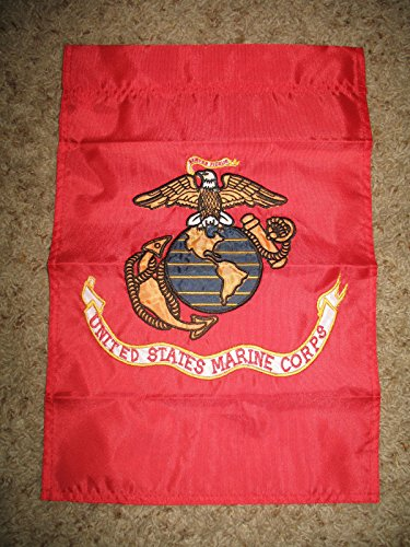 USMC Marines 12x18 Embroidered Sewn Garden Flag Banner Sleeve Solarmax Nylon by RFCO
