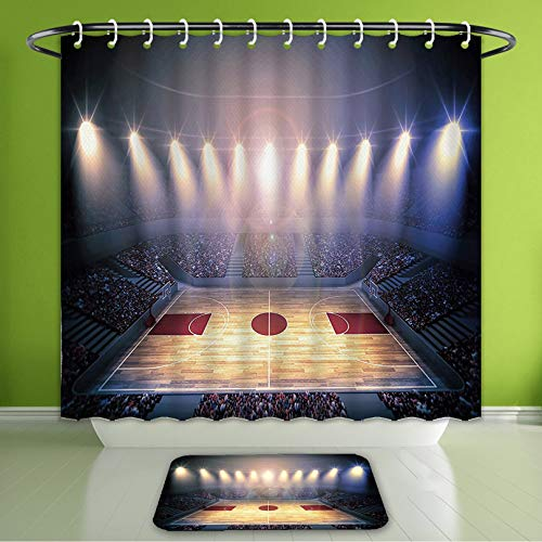 Waterproof Shower Curtain and Bath Rug Set Sports Decor Crowded Basketball Arena Just Before The Game Starts School Tourna Bath Curtain and Doormat Suit for Bathroom Extra Long Size 72