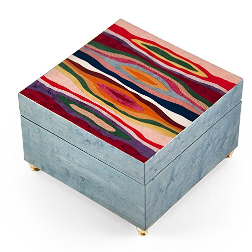 Artistic Light Blue Modern 'Abstract Expressionism' Musical Jewelry Box - Rock of Ages - Christian Version by MusicBoxAttic