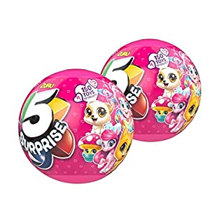 ZURU 5 Surprise Pink Mystery Capsule Surprise Miniature Toy Mystery Ball (2-Pack)