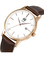 AIBI Mens Watch Classic Quartz Analog Business Wrist Egg White Face Rosegold Case Watches with Date Brown Leather...