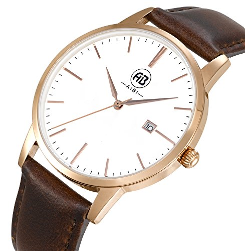 (AIBI Men's Watch Classic Quartz Analog Business Wrist Egg White Face Rosegold Case Watches with Date Brown Leather Strap 3ATM Waterproof for Men)