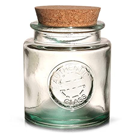Drinkstuff Authentic Recycled Glass Storage Jar With Cork Lid 250ml