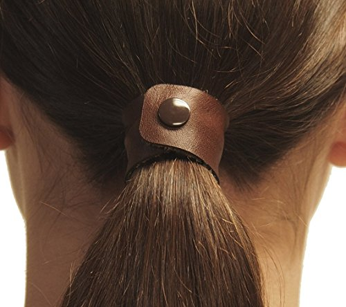 Marron (Reddish-Brown) hair tie by Hairtyz (single piece) | Leather ponytail holder - hair accessory - scrunchie | Hide your elastic band - modular - flexible | Snap them together for long hair