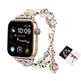 ritastar for Apple Watch Band 38mm/40mm,Handmade Beaded Bracelet Strap Jewelry with Night Luminous Pearls,Adjustable Heart Clasp,Perfume/Essential Oil Storage Pendant for Women Iwatch Series 4,3,2,1