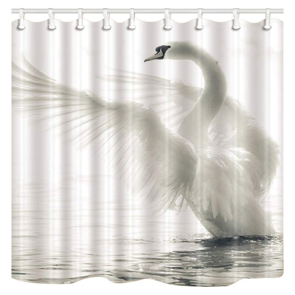 Amazon ChuaMi Polyester Fabric 70 X 82 Inches Shower Curtain Mildew Resistant Waterproof Bathroom Decoration Curtains With Hooks White Swan Home
