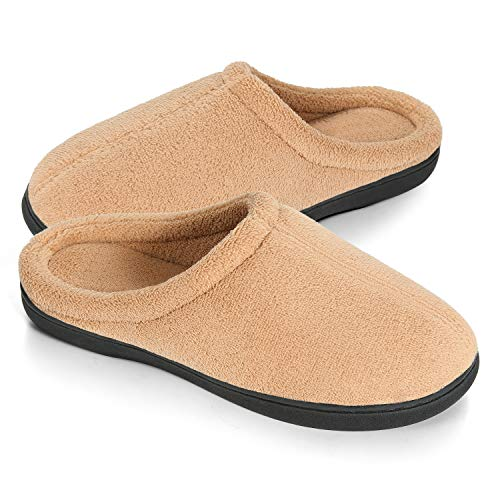 Slippers for Women and Men, Cotton House Slippers Comfort Memory Foam Indoor Slip On Sole Light Brown