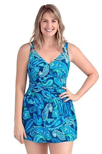 PERONA Plus Size Swimwear Tummy Control Swim Dress Size12-28 One Piece Swimsuit with Flared Skirt for Womens (US22W(Read The Size Chart in Our Image), Blue)