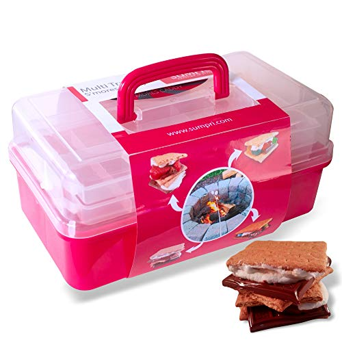 SUMPRI Smores Caddy with Two Folding Trays -Smore Box That Keeps Your Marshmallow Roasting Sticks/Crackers/Chocolate Bars Organized -Fire Pit Accessories Kit,Campfire Smore Skewers Storage Box (Pink)