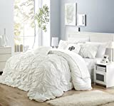 Perfect Home 6 Piece Ramanda Floral Pinch Pleat Ruffled Designer Embellished Comforter Set, Queen, White