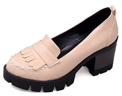 c3855a838f Amazon.com | IDIFU Women's Vintage Tassels Low Top Platform Mid Chunky  Heels Slip On Oxfords Office Shoes | Oxfords
