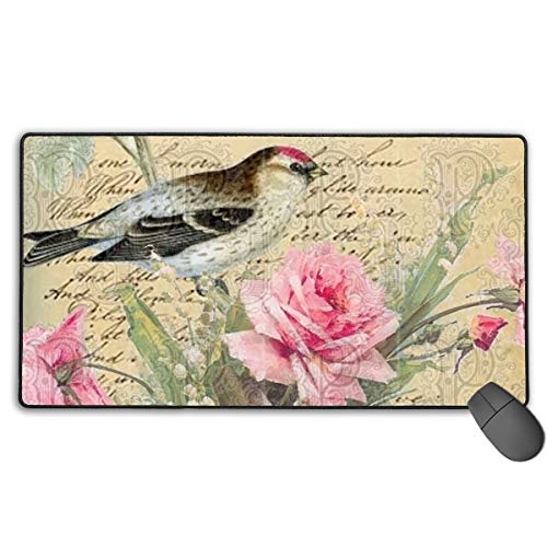 Large Mouse Pad XL,Shams Bird Pretty Pink Blossoms Design Extended Gaming Mouse Pad Mat Desk Pad Non-Slip Rubber Mousepad with Stitched Edges 40x75 ()