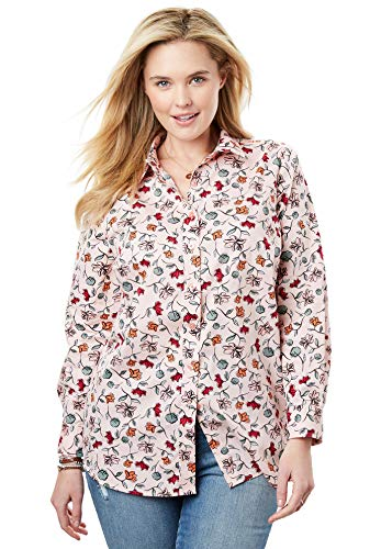 (Woman Within Women's Plus Size Perfect Button Down Shirt - Pink Sorbet Wavy Floral, M)