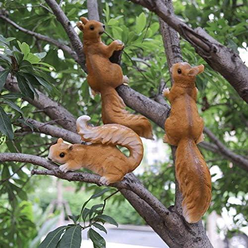 庭の彫像屋外の庭幼稚園庭中庭クリエイティブシミュレーション動物の彫刻樹脂小さなリス3つの小さなリス庭と庭の動物