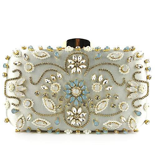 Women Noble Crystal Beaded Evening Bag Wedding Clutch Purse silver