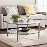 Round Coffee Table with Storage Southern Enterprises Sofa Shatter Resistant Tempered Glass/Metal Round Coffee Table in Silver