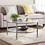 Southern Enterprises Sofa Shatter Resistant Tempered Glass/Metal Round Coffee Table in Silver