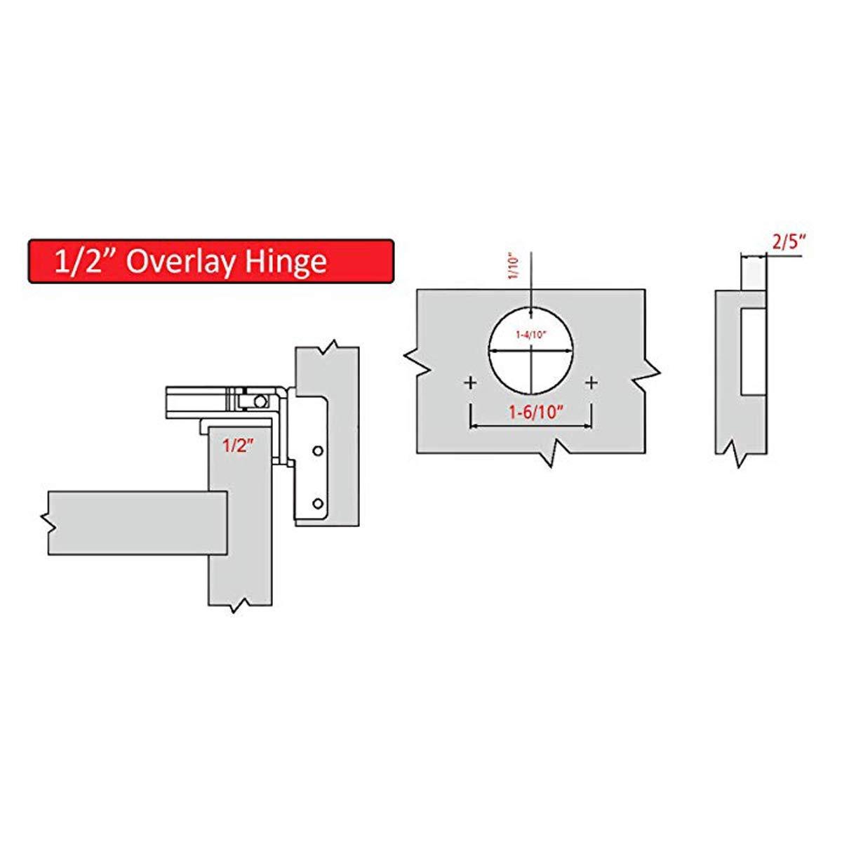 AmazonBasics Soft Close Hinge, 1/2'' Overlay, Nickel Plated, 50-Pack (Renewed) by AmazonBasics (Image #4)