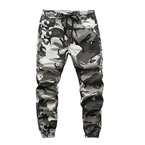 LOKTARC Boys Pull On Jogger Pants Camo Print Cuff Jogging Bottoms Grey(Regular Fit) 9-10T