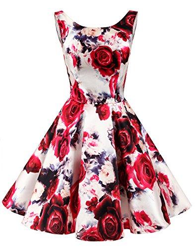 Rot Einfach Vintage Damen Erosebridal Kleid Blumen Knielang Retro Rundhalsausschnitt Hqx18