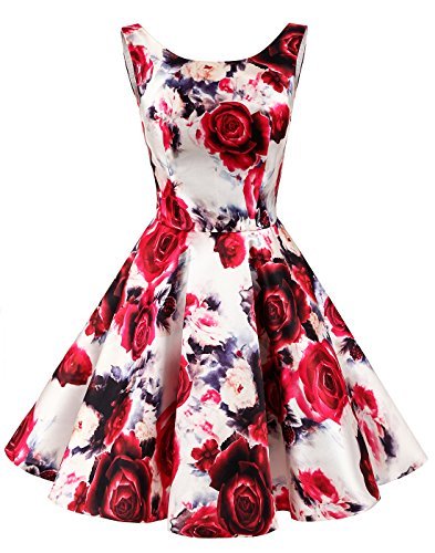 Kleid Retro Damen Rot Erosebridal Knielang Rundhalsausschnitt Vintage Blumen Einfach 07qddxB