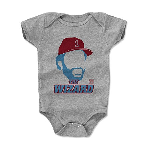 (500 LEVEL Ozzie Smith Baby Clothes, Onesie, Creeper, Bodysuit 6-12 Months Heather Gray - Vintage St. Louis Baseball Baby Clothes - Ozzie Smith Silhouette R)