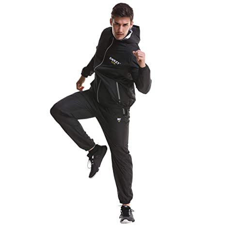 DNRZY FIT Sauna Sweat Suits for Men and Women Weight Loss Fitness Gym Exercise Workout Clothes Hooded Jacket Pants Full Body Suits