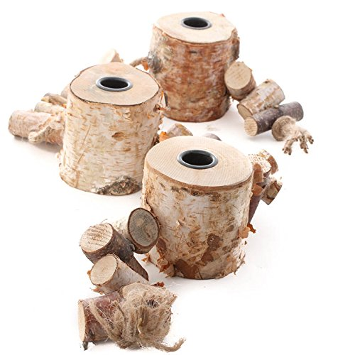 Natural Birch Triple Taper Candle Holder Display for Home Decor Party Decor and Everyday Use
