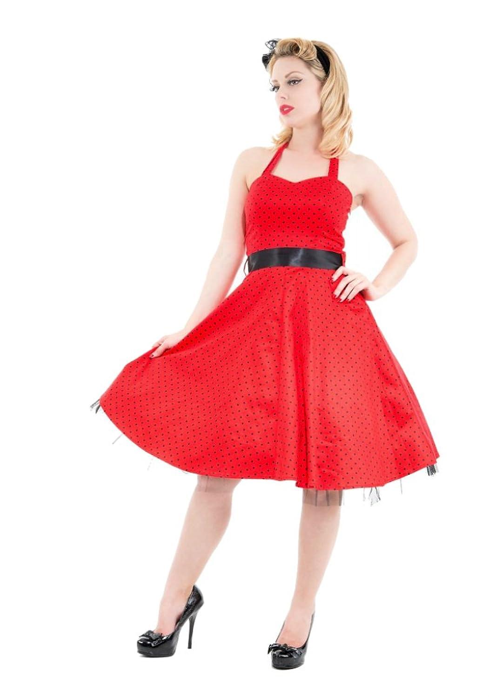 H & R London Red Black Small Dot Cocktail Halter Dress